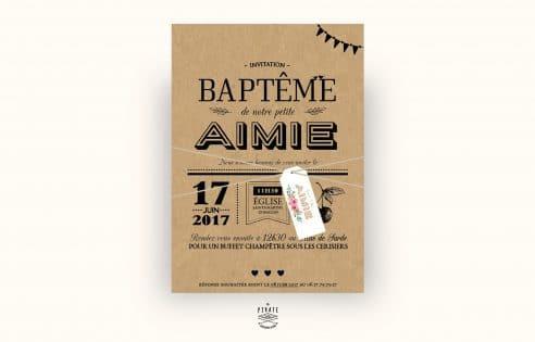 Faire-Part Baptême kraft - champêtre avec étiquette fleurie