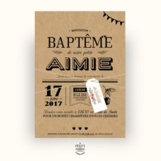 Faire-Part Baptême kraft – champêtre avec étiquette fleurie