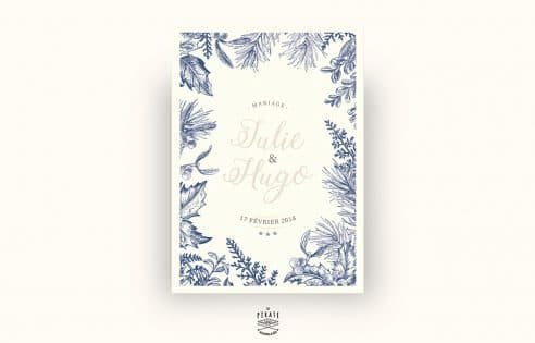 Faire-Part Mariage Hiver-flocon neige, calligraphie, winter - Recto