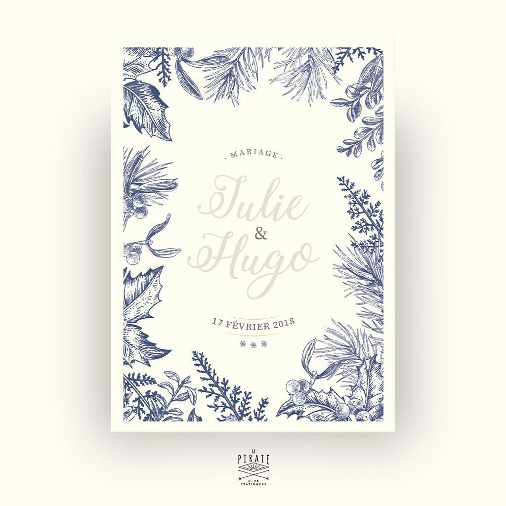 Faire-Part Mariage Hiver - flocon de neige -calligraphie - winter romance - Recto - La Pirate