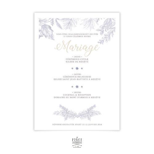 Faire-Part Mariage Hiver - flocon de neige -calligraphie - winter romance, mariage montagne, hiver - Verso - La Pirate