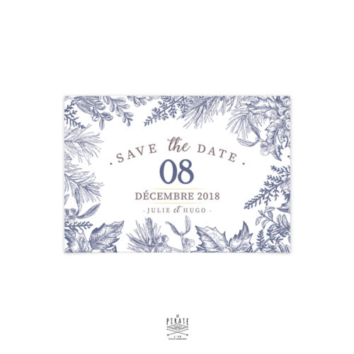 Save The Date Mariage Hiver, Flocon neige, Calligraphie, Winter - Carte Postale - Mariage thème hiver, montagne - La Pirate