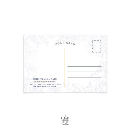 Save The Date Mariage Hiver, Flocon neige, Calligraphie, Winter - Carte Postale - Mariage thème hiver, montagne - La Pirate