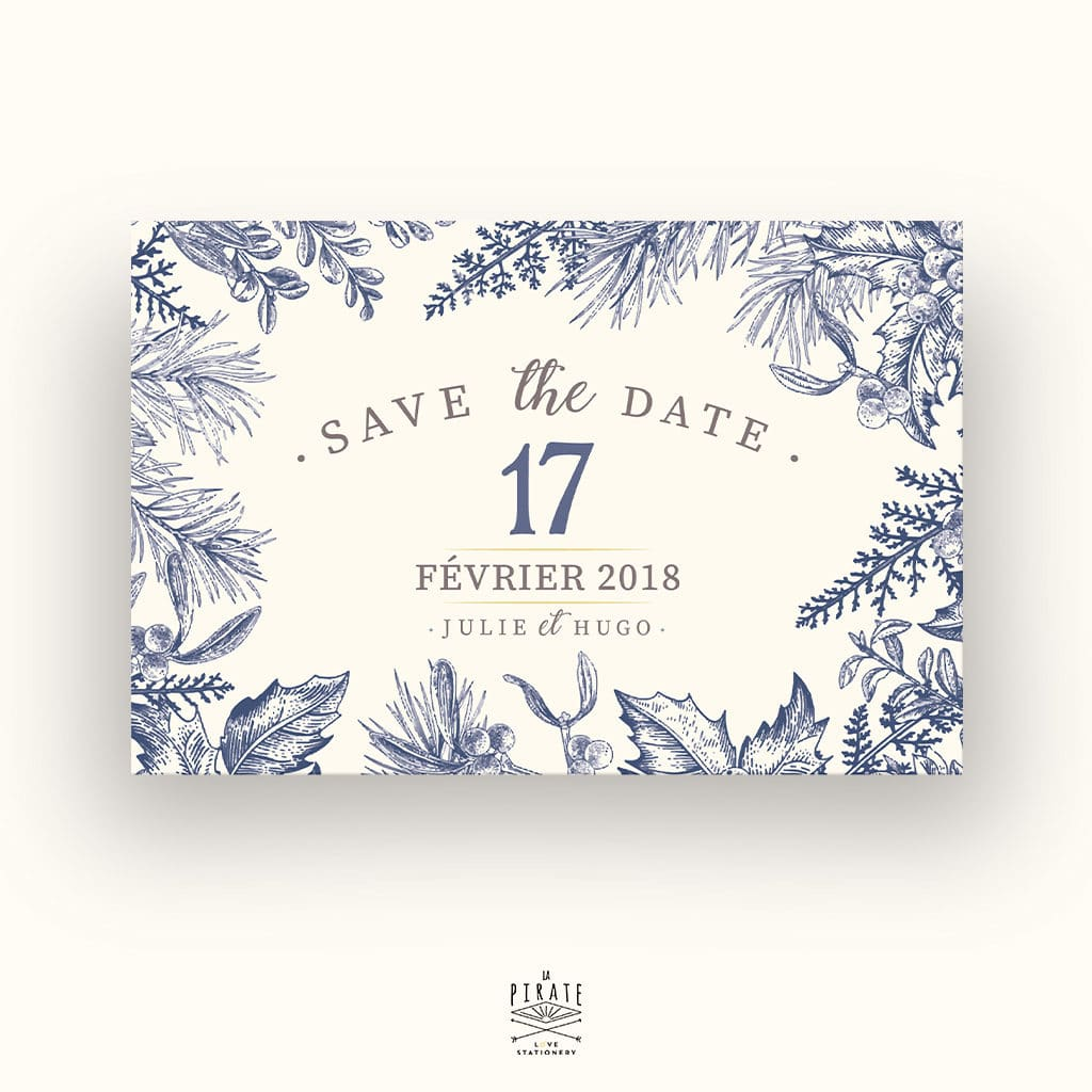 Save The Date Mariage Hiver, Flocon neige, Calligraphie, Winter - Carte Postale - RECTO - La Pirate