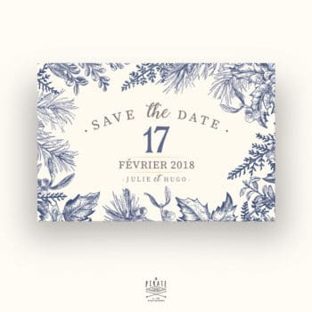 Save The Date Mariage Hiver, Flocon neige, Calligraphie, Winter - Carte Postale - RECTO - La Pirate