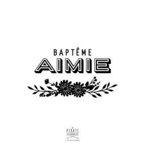Tampon Baptême champêtre personnalisé avec le prénom de votre enfant souligné d'une composition florale