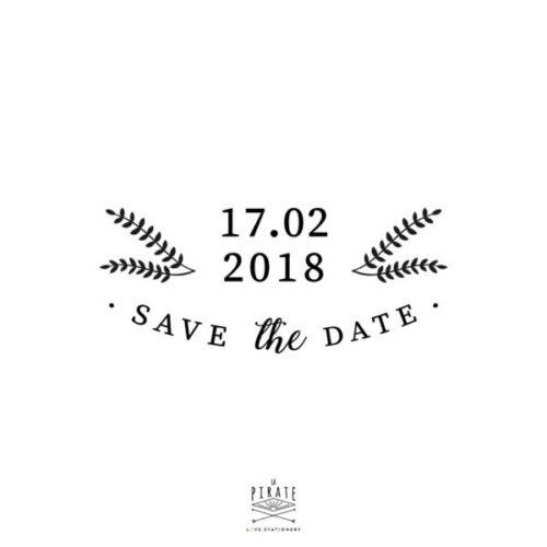 Tampon Save The Date mariage Hiver à personnaliser avec la date de votre mariage sur le thème hivernal, montagne - La Pirate