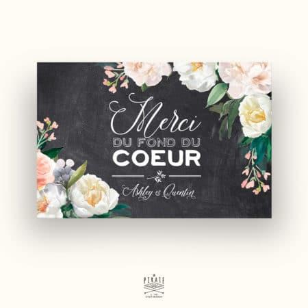 Carte de remerciements Mariage Ardoise et Fleurs - Collection Ardoise et Fleurs