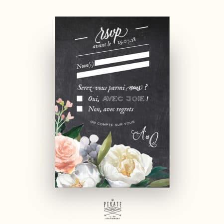 RSVP Mariage Ardoise et Fleurs Aquarelles - Collection Ardoise et Fleurs