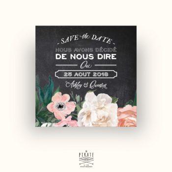 Save The Date Mariage Ardoise et Fleurs Aquarelles - Collection Ardoise et Fleurs