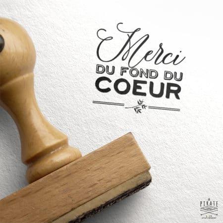 """Tampon """"Merci du fond du coeur"""" Mariage - Collection Ardoise et Fleurs Vintage"""
