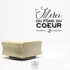 """Tampon """"Merci du fond du coeur"""" Mariage en bois - Collection Ardoise et Fleurs Vintage - La Pirate"""