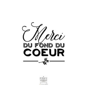 Tampon Merci du fond du coeur Mariage de la Collection Ardoise et Fleurs Vintage - La Pirate