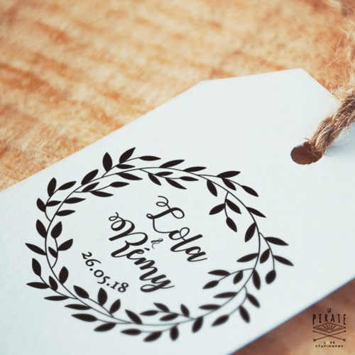 Tampon mariage champêtre, couronne de feuilles sauvages - lapirate