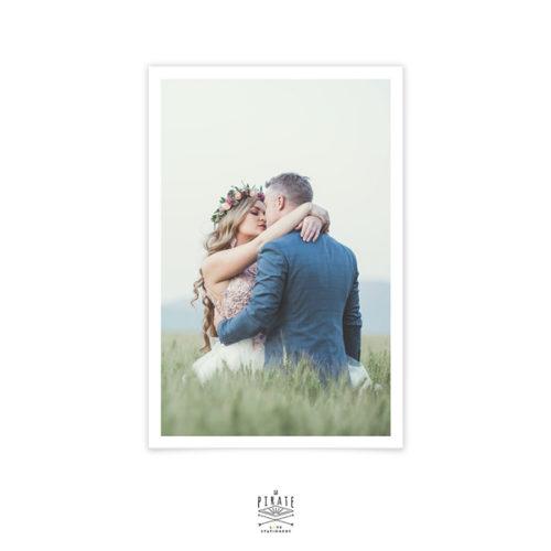 Carte remerciements mariage vintage avec photo de votre couple personnalisée, mariage vintage