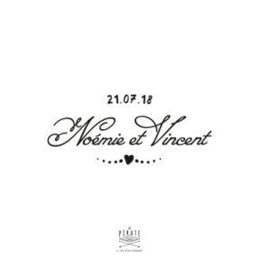 Tampon mariage coeur vintage heart etc. personnalisé avec vos prénoms et la date de votre mariage, vintage - La Pirate