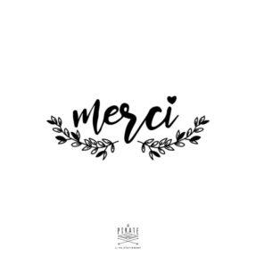 Tampon Merci Mariage bohème, note végétale, eucalytptus - La Pirate