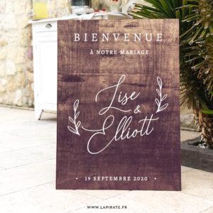 Stickers Bienvenue au mariage Calligraphie, branches végétales