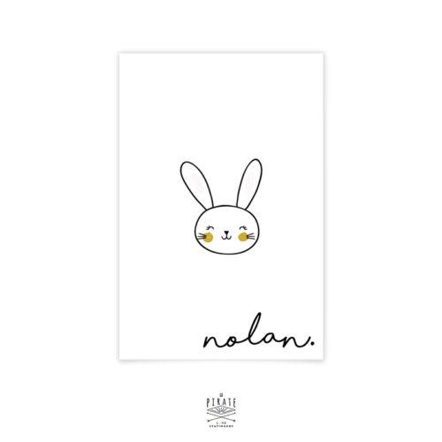 Faire-Part Naissance Lapin, faire-part minimaliste personnalisé avec tête de lapin naïf - La Pirate