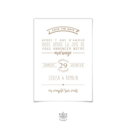 Personnalisez votre save the date mariage champêtre sur fond kraft de la collection couronne d'Olivier