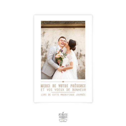 Carte de remerciements mariage champêtre, Couronne d'olivier-kraft, mariage en Provence - La Pirate