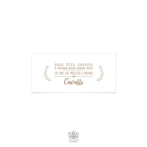 invitation repas mariage champêtre, effet kraft, pour votre mariage thème champêtre, provence, olivier
