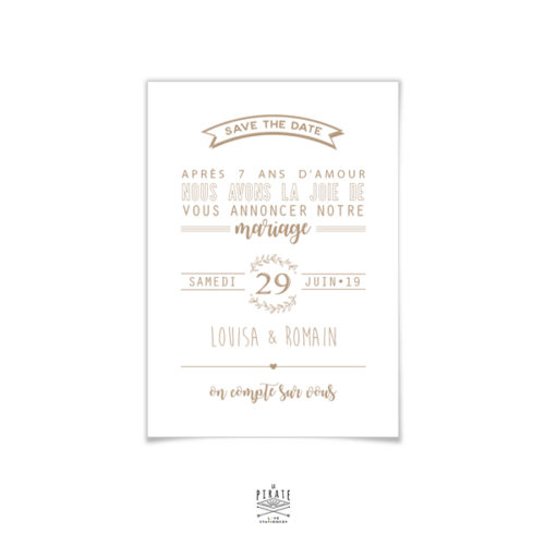 Save the date mariage champêtre à personnaliser, fond blanc et texte couleur kraft. Thème provençal, couronne d'Olivier
