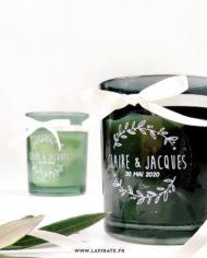Stickers rond transparent et blanc, motif couronne olivier. Mariage Champêtre