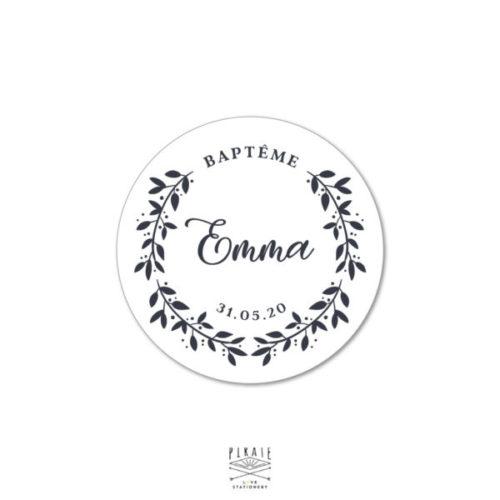 Stickers Baptême rond couronne champêtre personnalisés - La Pirate