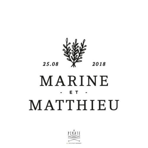 Tampon Mariage Lavande personnalisé de vos prénoms et de la date de mariage, pour votre mariage en Provence - La Pirate