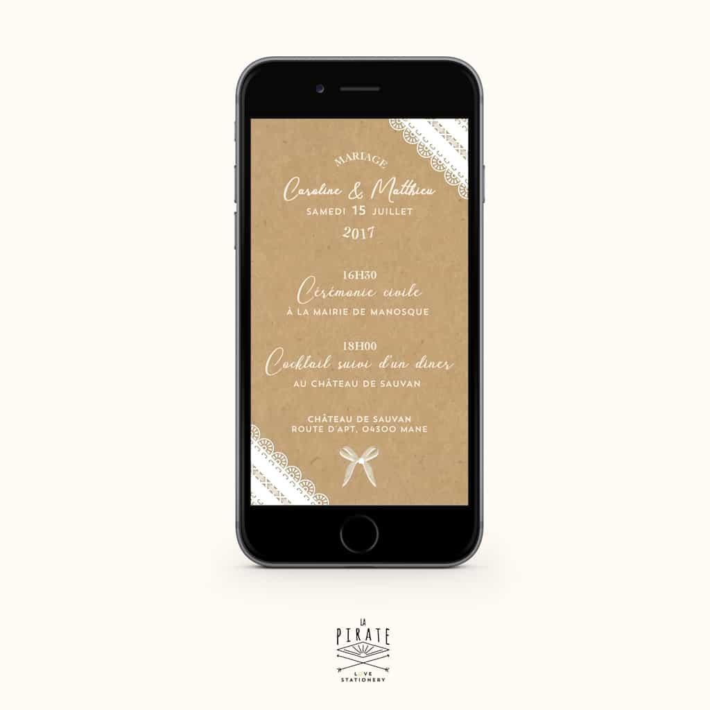 Faire-part mariage numérique kraft et dentelle - Version Electronique - La Pirate