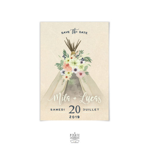 Save The Date Mariage Bohème. Motif Tipi Boho - La Pirate
