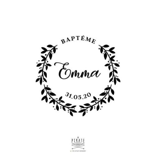 Tampon Baptême Champêtre, personnalisé avec le prénoms et date de baptême- La Pirate