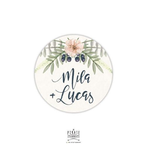 Stickers rond mariage bohème personnalisé, thème bohème folk, floral