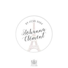 Stickers rond mariage Tour Eiffel personnalisé pour votre mariage sur le thème Paris - La Pirate