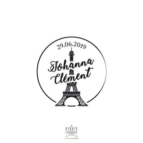Tampon Mariage Tour Eiffel à personnaliser pour votre mariage sur le thème de Paris, tampon Vintage - La Pirate