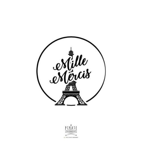 Tampon Mille Mercis motifTour Eiffel sur le thème de votre mariage à Paris - La Pirate