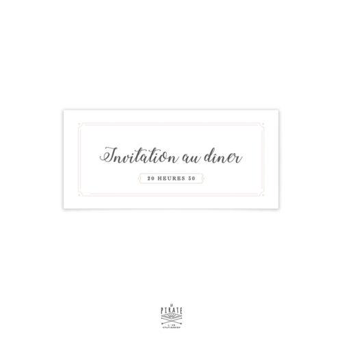 Carton d'invitation repas tour Eiffel, sera parfaitement associé à votre faire-part de mariage Love in Paris - La Pirate