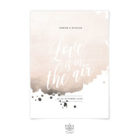 Faire-part mariage aquarelle personnalisé - Love is in the air