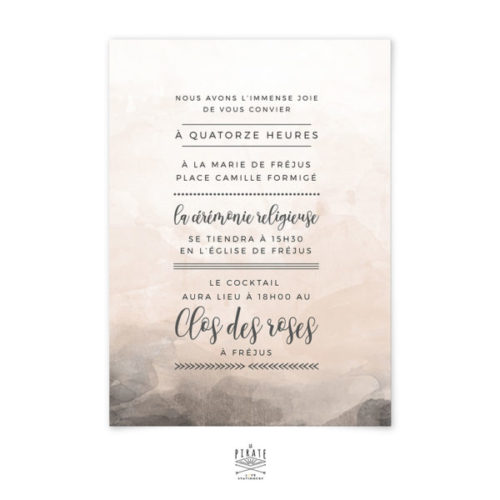 Faire-part mariage aquarelle personnalisé - Love is in the air - Programme au verso - La Pirate