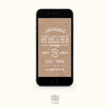 Save The Date Mariage champêtre, couronne d'olivier - version numérique - La Pirate