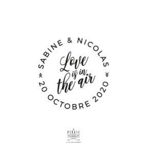 Tampon Mariage Love is in the air vintage, personnalisé avec les prénoms et la date du mariage - La Pirate