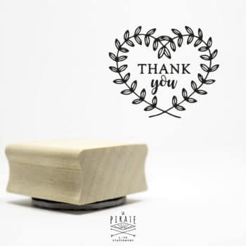 Tampon Thank You, Branches en coeur - Tampon Packaging - La Pirate