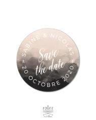 Stickers rond mariage aquarelle personnalisé