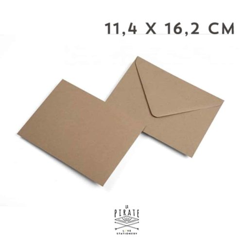 Enveloppes Kraft 11,4x16,2 cm - Papier recyclé - La Pirate