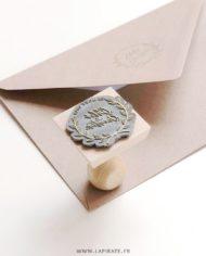 Tampon mariage personnalisé prénom et date, motif couronne d'automne – La Pirate