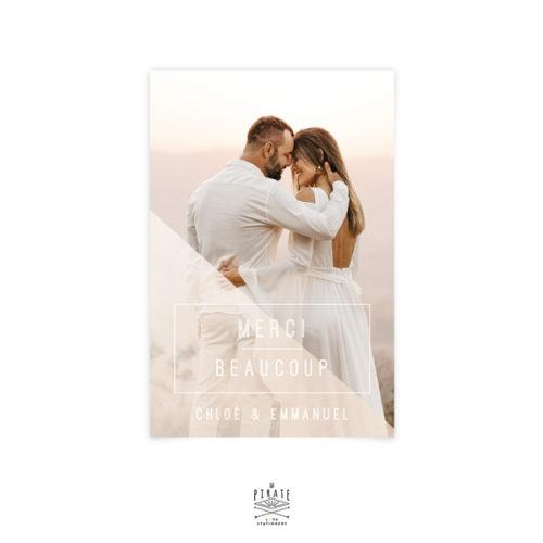 """Carte remerciements mariage graphique, carte """"Merci Beaucoup"""" carrée aux lignes graphiques et chic - La Pirate"""