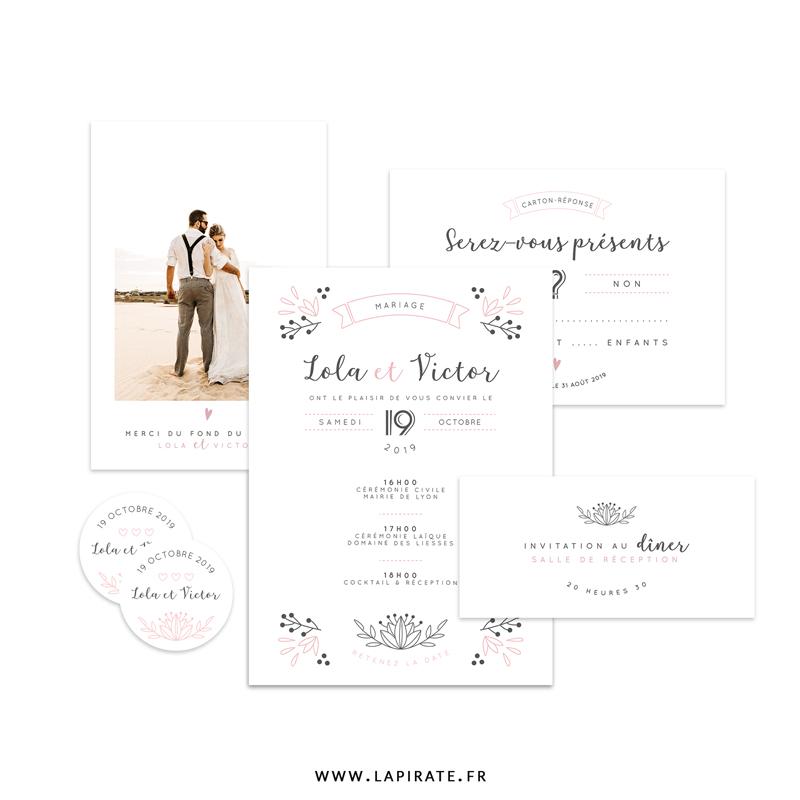 Papeterie mariage Shabby Folk, poudrée et délicate, motif floraux folk. Une papeterie fine personnalisée pour votre mariage sur le thème délicat shabby revisité - La Pirate