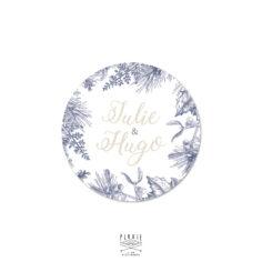 Stickers rond mariage personnalisé sur le thème hiver