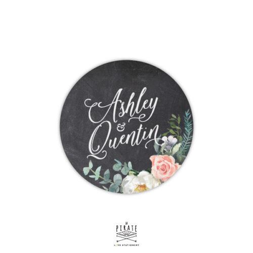 Stickers rond mariage ardoise et fleurs aquarelles - La Pirate